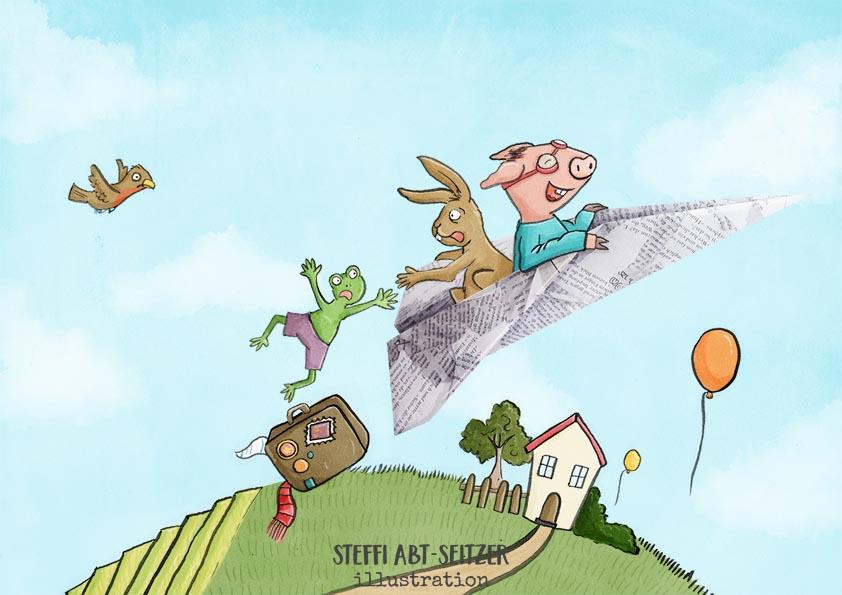 Steffi Abt-Seitzer Illustration - Kinderbuch Papierflieger