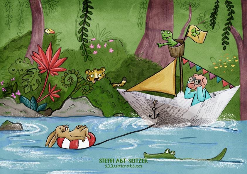 Steffi Abt-Seitzer Illustration Kinderbuch Papierschiff