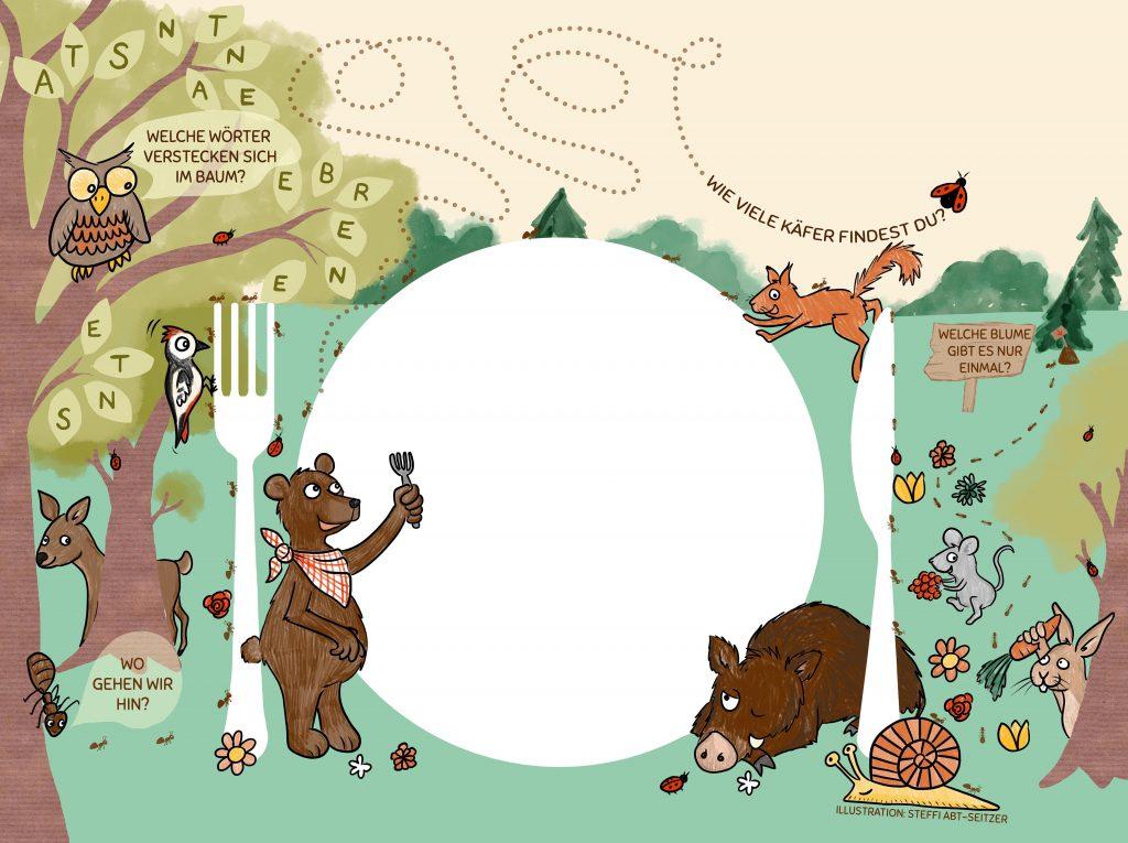 """Steffi Abt-Seitzer Illustration Platzset """"Fuchsbau"""" mit vielen Waldtieren"""