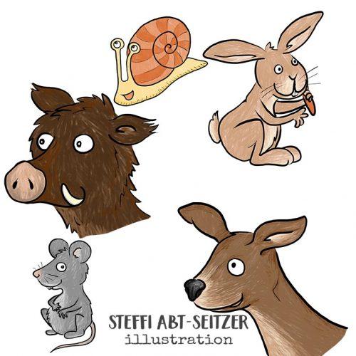 Steffi Abt-Seitzer Illustration Schnecke Hase Wildschwein Reh Maus