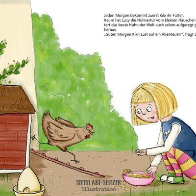 Mädchen füttert Huhn vor Hühnerstall