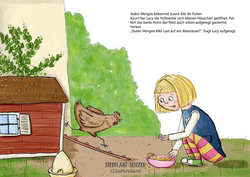 Steffi Abt-Seitzer Illustration Mädchen füttert Huhn vor Hühnerstall