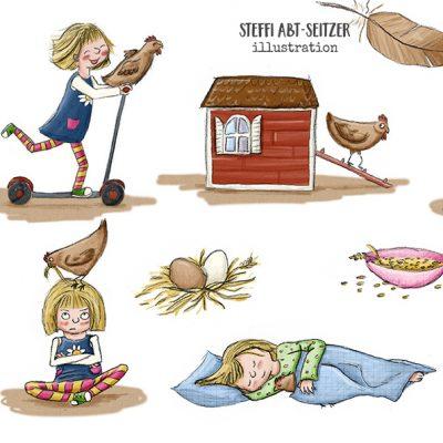 Mädchen und Huhn in verschiedenen Posen