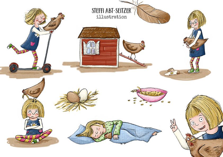 Steffi Abt-Seitzer Illustration Mädchen und Huhn in verschiedenen Posen