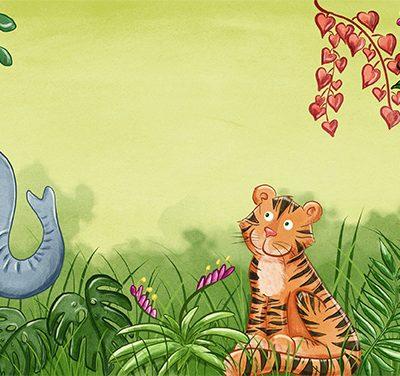 ein Tiger sitzt im Dschungel individuelle Babykarte