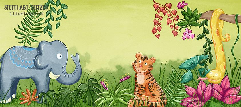 Steffi Abt-Seitzer Illustration ein Tiger sitzt im Dschungel individuelle Babykarte