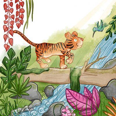 Tiger balanciert auf Baumstamm Kolobri Abenteuer