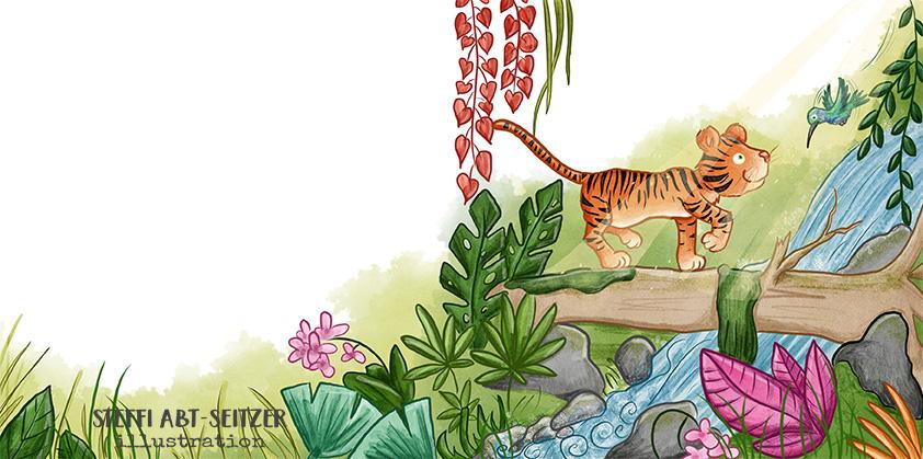 Steffi Abt-Seitzer Illustration Tiger balanciert auf Baumstamm Kolobri Abenteuer