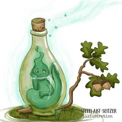 Ein Geist in einer Flasche schmollt