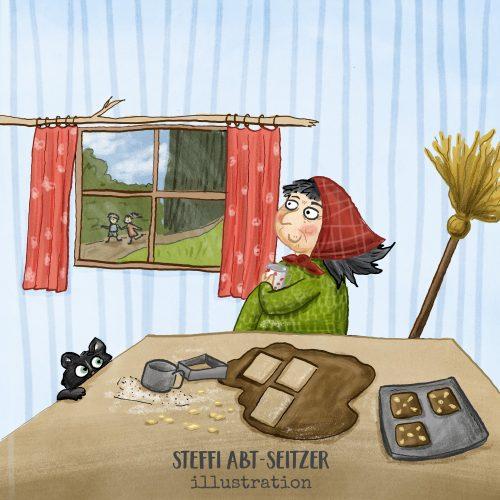 """Steffi Abt-Seitzer Illustration Die Hexe aus dem Märchen """"Hänsel und Gretel"""" bäckt Lebkuchen"""