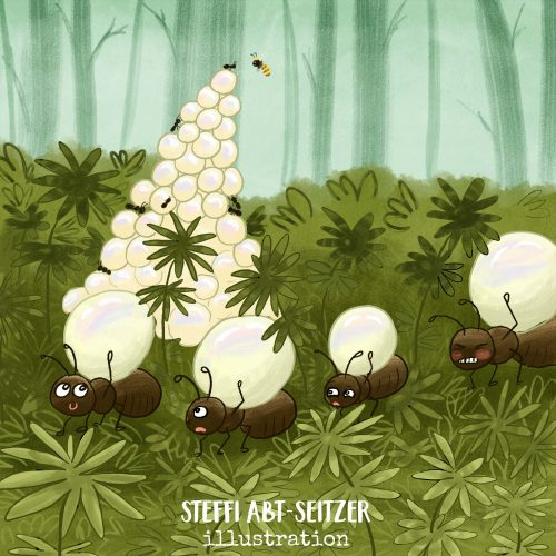 Steffi Abt-Seitzer Illustration Ameisten sammeln Perlen aus dem Märchen Die Bienenkönigin