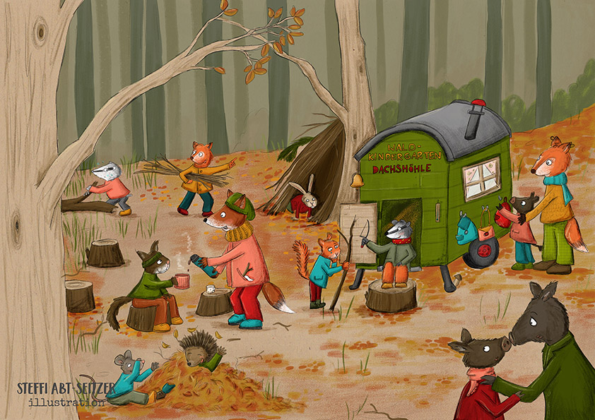 Steffi Abt-Seitzer Illustration Szene Waldkindergarten mit Waldtieren, Illustration