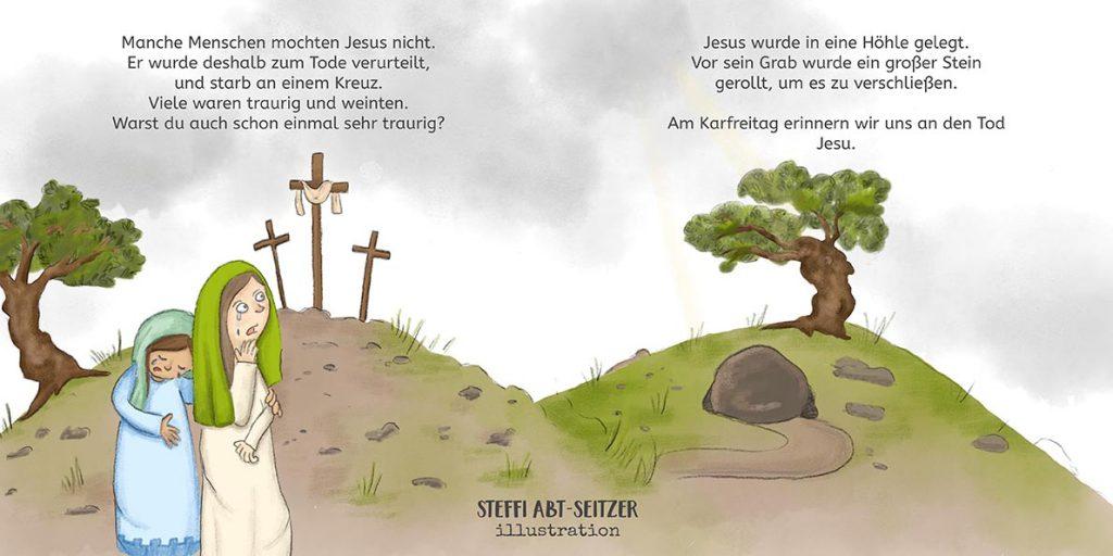 Steffi Abt-Seitzer Illustration - Karfreitag Ostern Kinderbuch