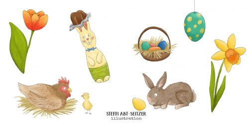 Steffi Abt-Seitzer Illustration - Bildwörter Ostern Osterhase Huhn