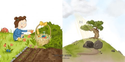 Steffi Abt-Seitzer Illustration - Ostersonntag Osterkorb Auferstehung