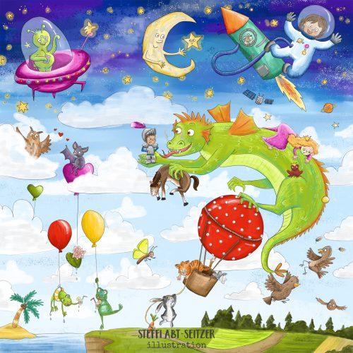 Steffi Abt-Seitzer Illustration Über den Wolken Puzzle Kinder Wimmelbild