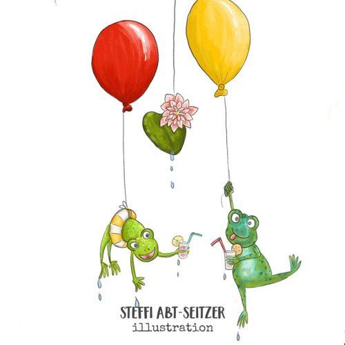 Steffi Abt-Seitzer Illustration Über den Wolken Kinderbuch Frösche