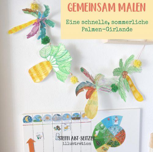 Palmen-Girlande Basteln mit Kinder Steffi Abt-Seitzer Illustration