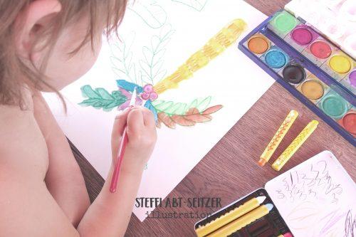 Palmen-Girlande Basteln mit Kind Steffi Abt-Seitzer Illustration