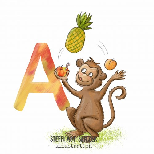 Steffi Abt-Seitzer Illustration Affe Jongliert ABC