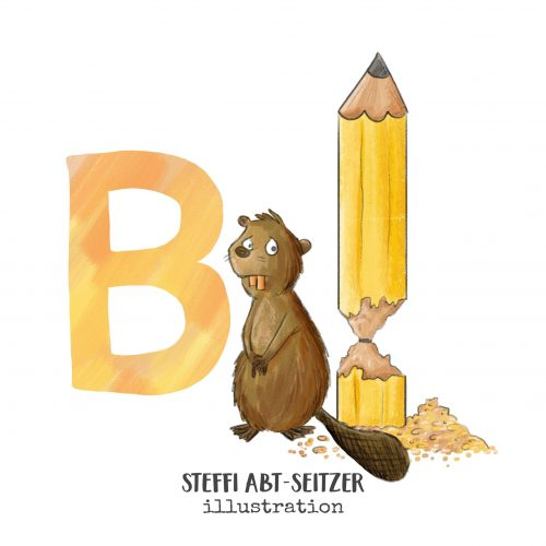 Steffi Abt-Seitzer Illustration Biber Bleistift ABC
