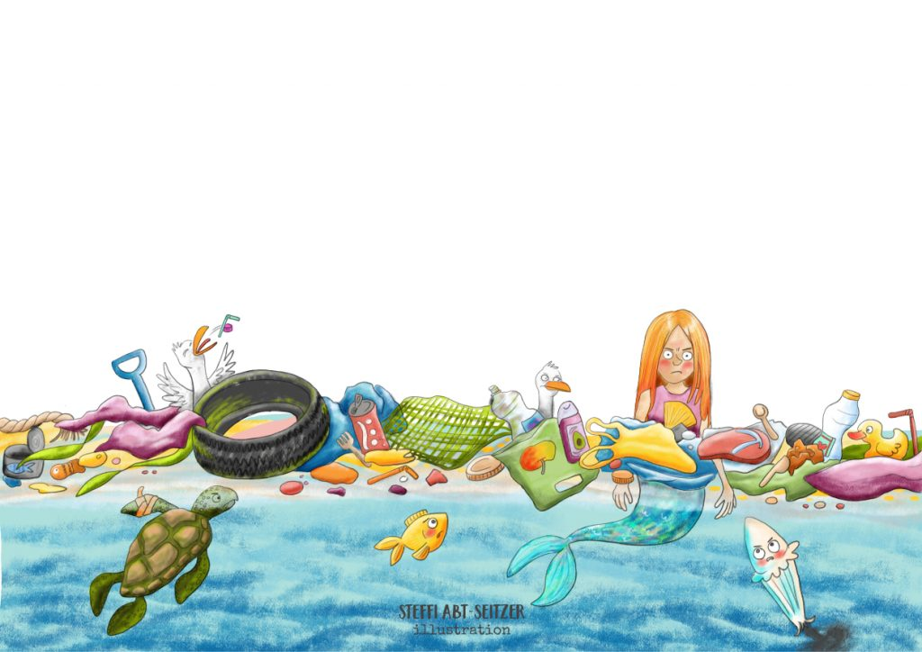 Steffi Abt-Seitzer Illustration Kinderbuch Mehrjungfrau Plastikmüll
