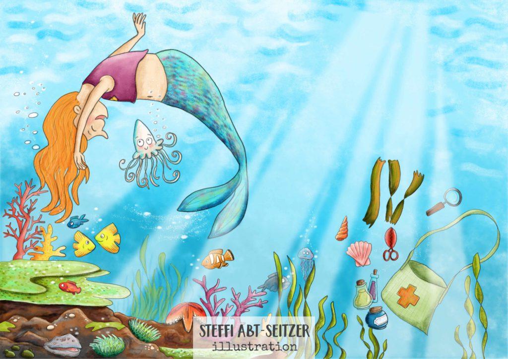 Steffi Abt-Seitzer Illustration Mehrjungfrau Unterwasser