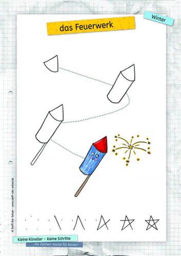 Zeichenvorlage Feuerwerk Steffi Abt-Seitzer Illustration Kinderbuch